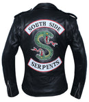Women Snake Patch Real Leather Black Biker Jacket