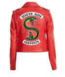 Women's Southside Riverdale S shaped Snake Patch Jughead Jones Cole Sprouse Red Faux Leather Jacket