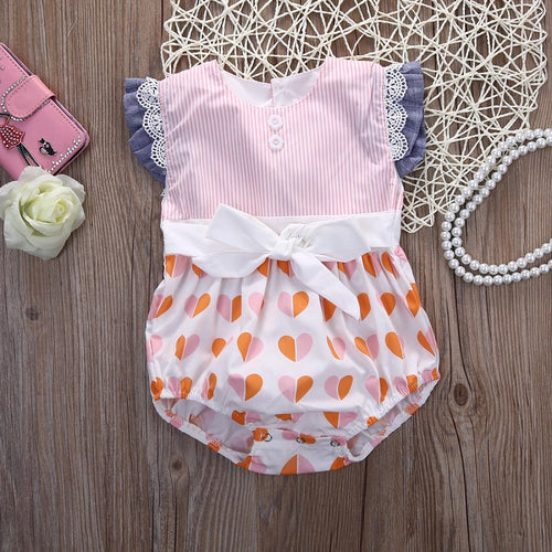 Ruffled Pattern Romper - Addy's Attic