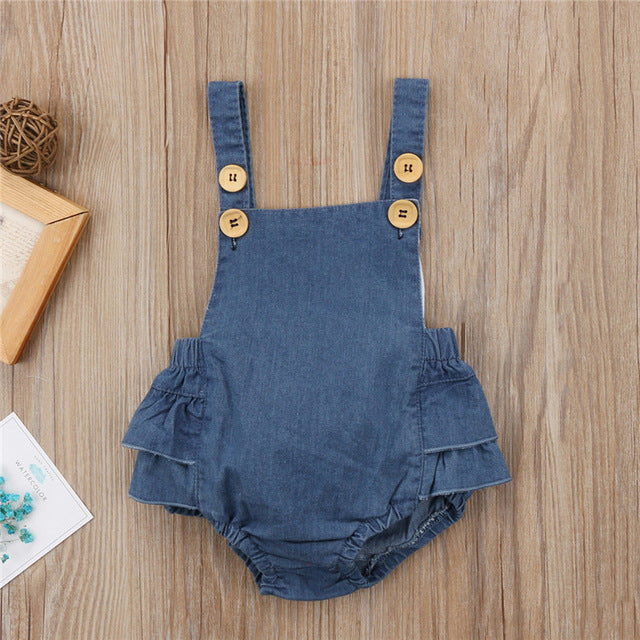 Ruffle Butt Denim Romper - Addy's Attic
