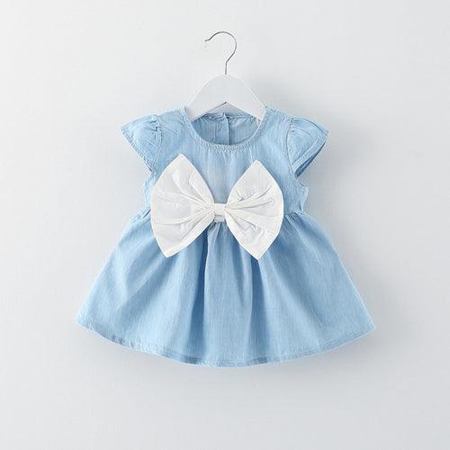 Big Bow Denim Dress - Addy's Attic