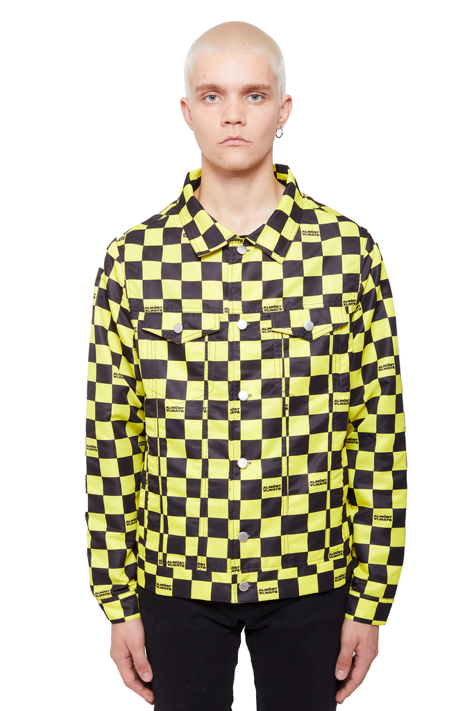 Checkered Trucker Jacket - Yellow