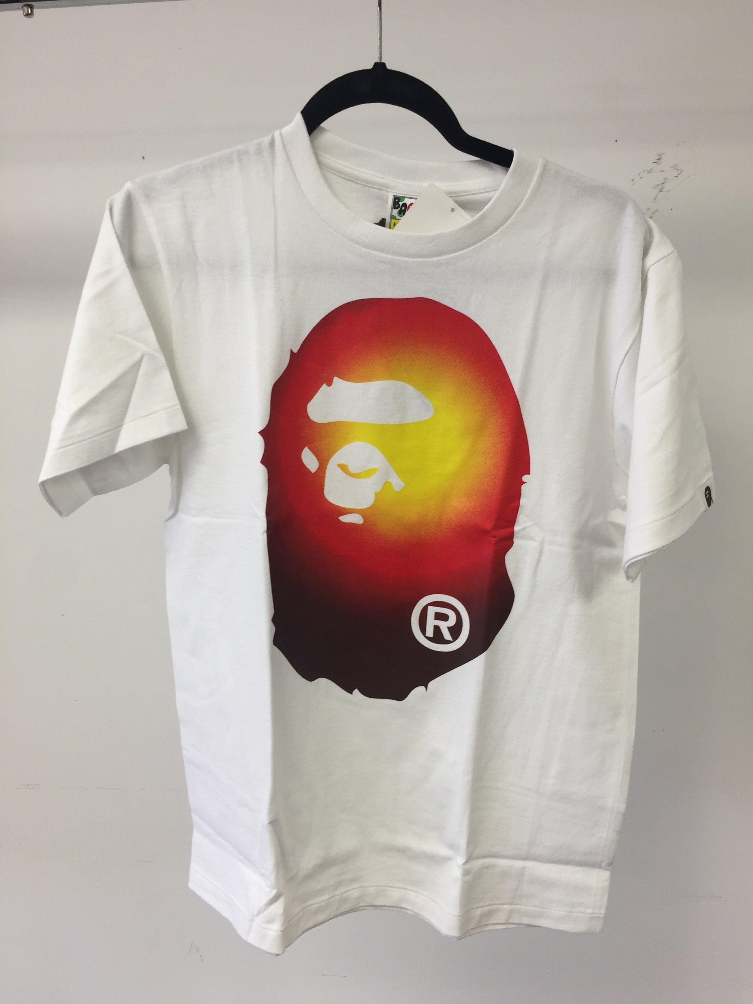 Bape T-Shirt - White - Red Yellow Ape Head (Size MEDIUM)