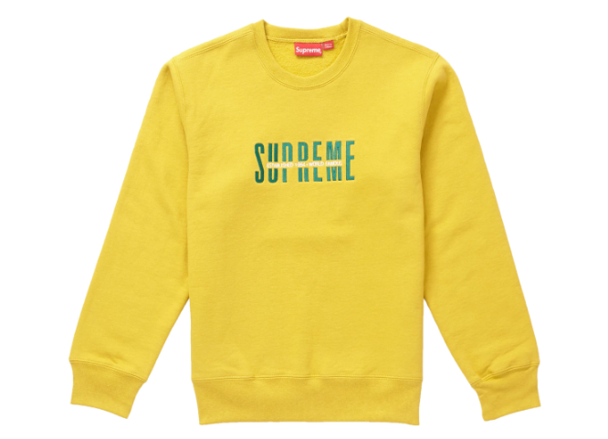 Supreme World Famous Crewneck Mustard (Size LARGE)