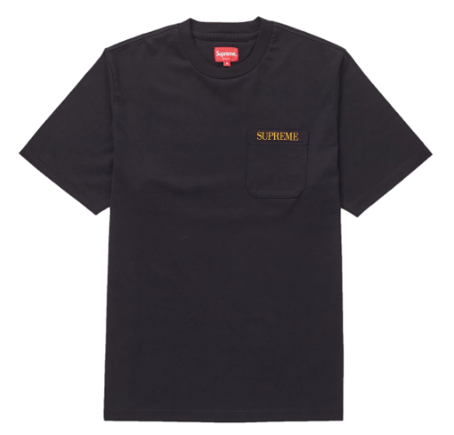 Supreme Embroidered Pocket Tee Black (Size LARGE)