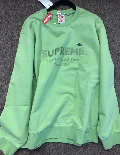Supreme LACOSTE Crewneck Green (Size LARGE)