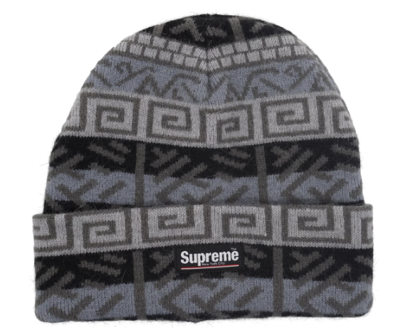Supreme Brushed Pattern Beanie Black