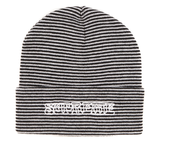 Supreme Small Stripe Beanie White