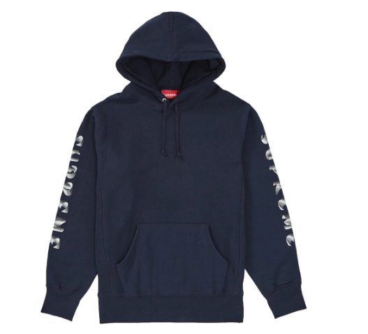 Supreme Gradient Sleeve Hooded Sweatshirt Navy (Size LARGE)