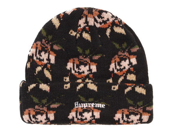 Supreme Rose Jacquard Beanie Black