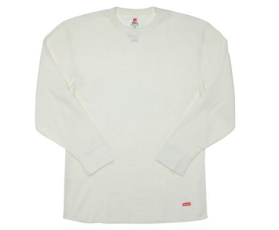 Supreme Hanes Thermal Crew (1 Pack) Natural (Size LARGE)
