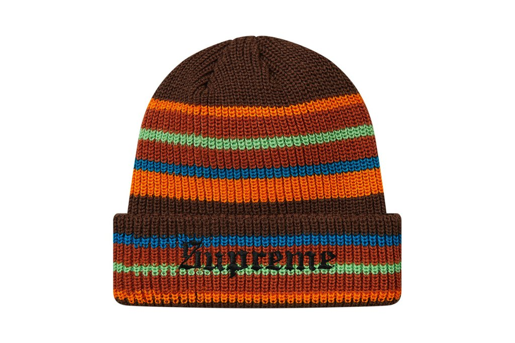 Supreme Bright Stripe Beanie Brown