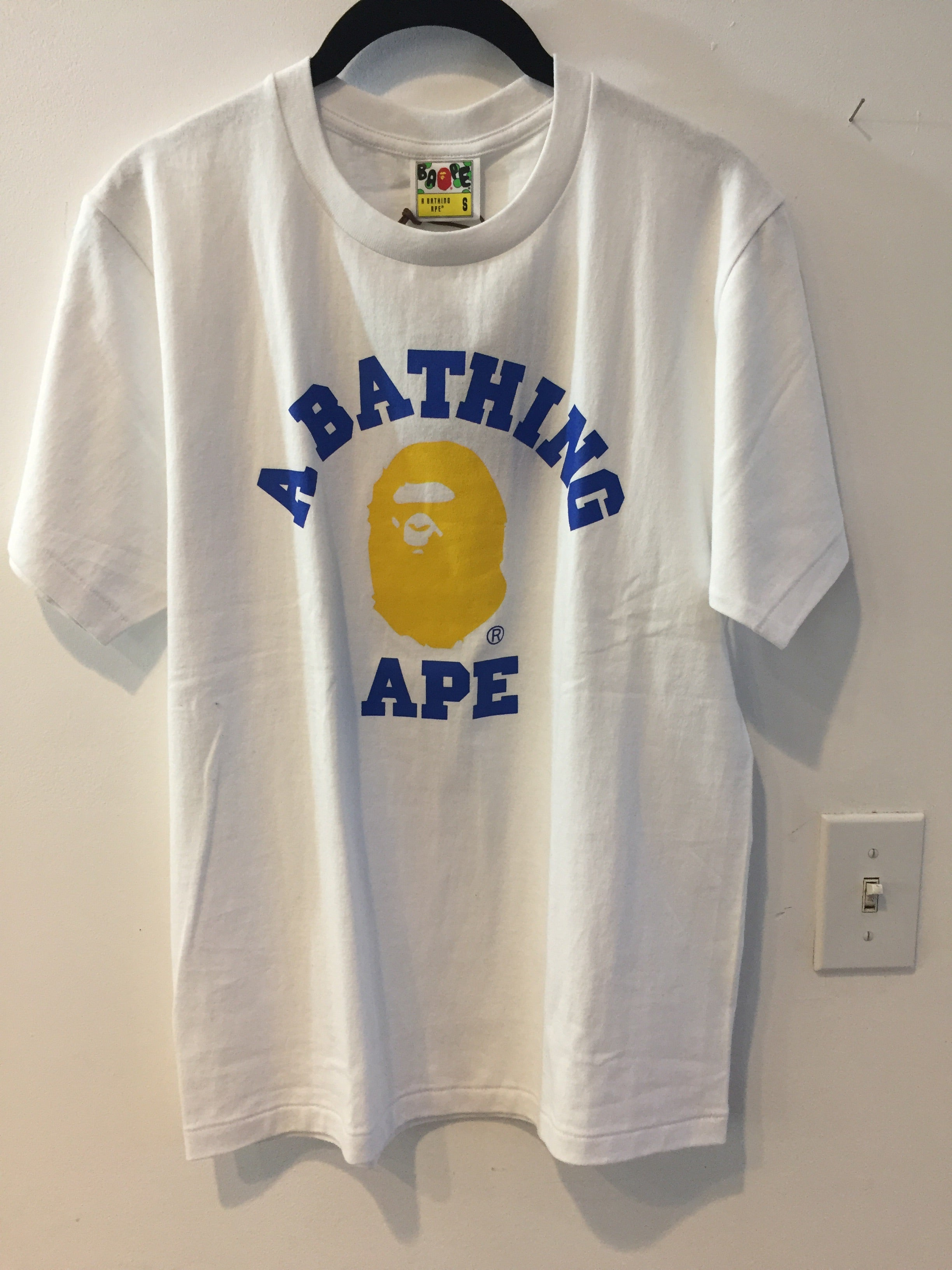 Bape T-Shirt - White Yellow Ape Head Blue Logo (Size SMALL)