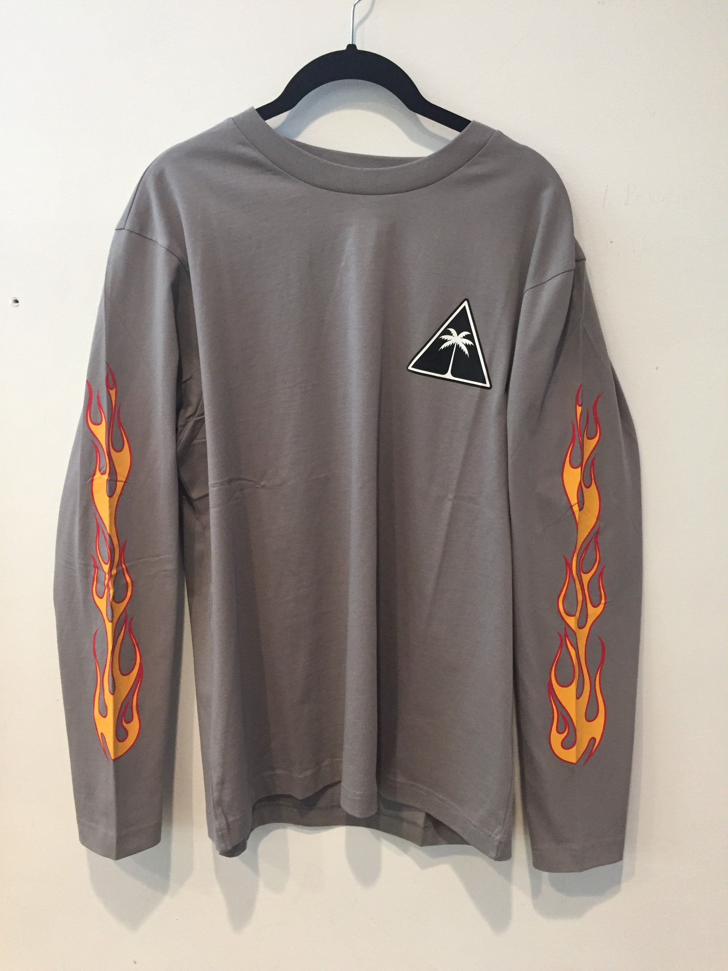 Palm Angel - Gray - Palms and Flames Long Sleeve Tee