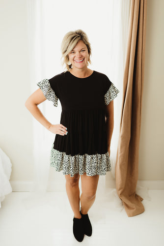Leopard Contrast Dress