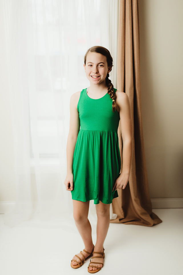Kid's Solid Midi Dress