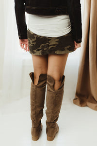 Camo Button Skirt
