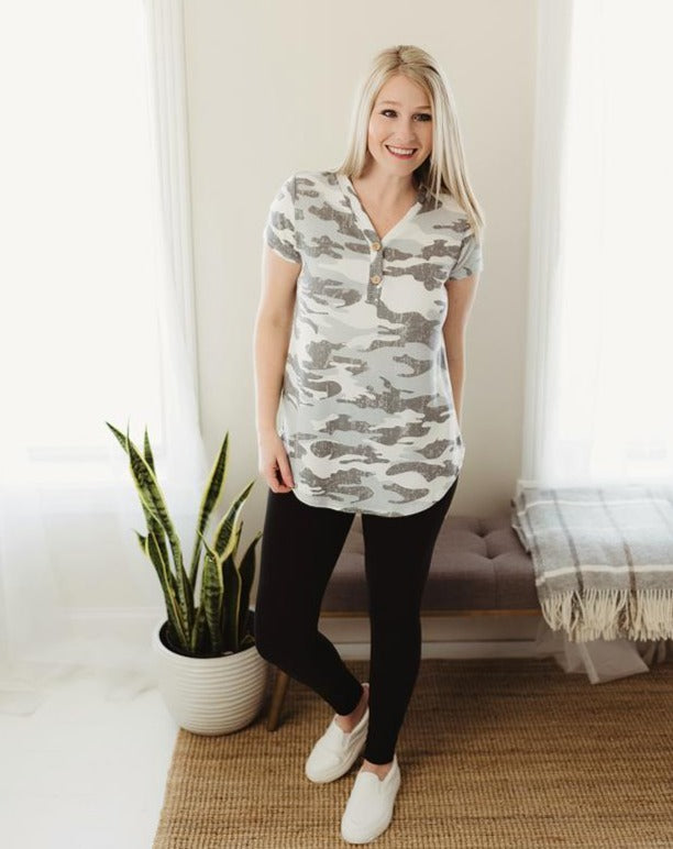 Camouflage Button Top