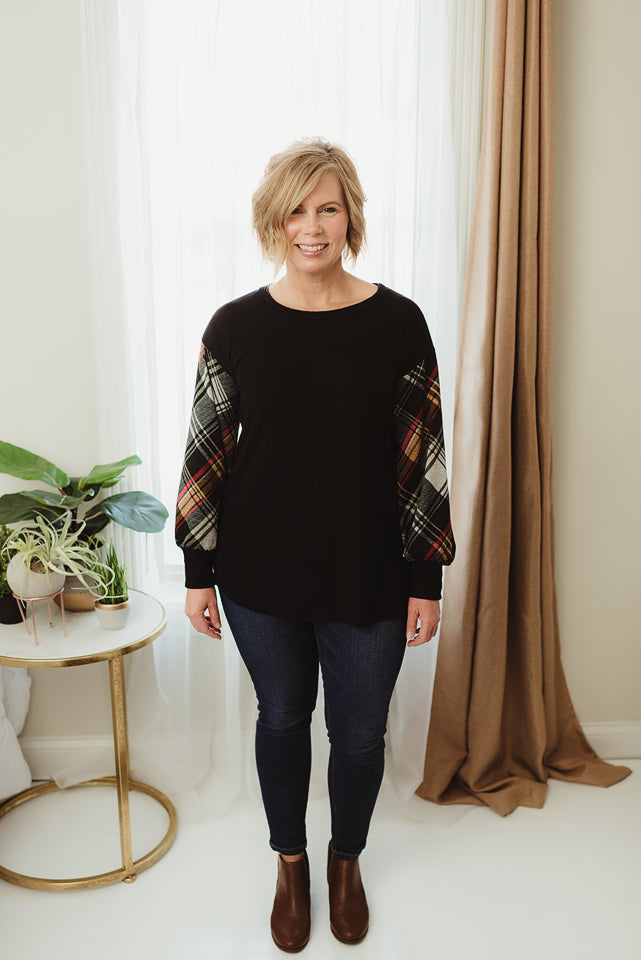 Plaid Raglan Tunic