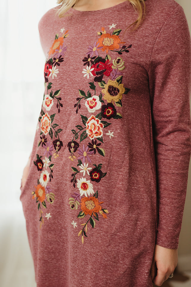 Floral Embroidered Knit Dress