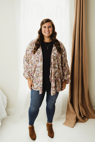 Floral Ruched Cardigan