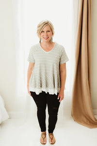 Grey Stripe Top Contrast