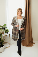 Load image into Gallery viewer, Reversible Check Hoodie Cardi
