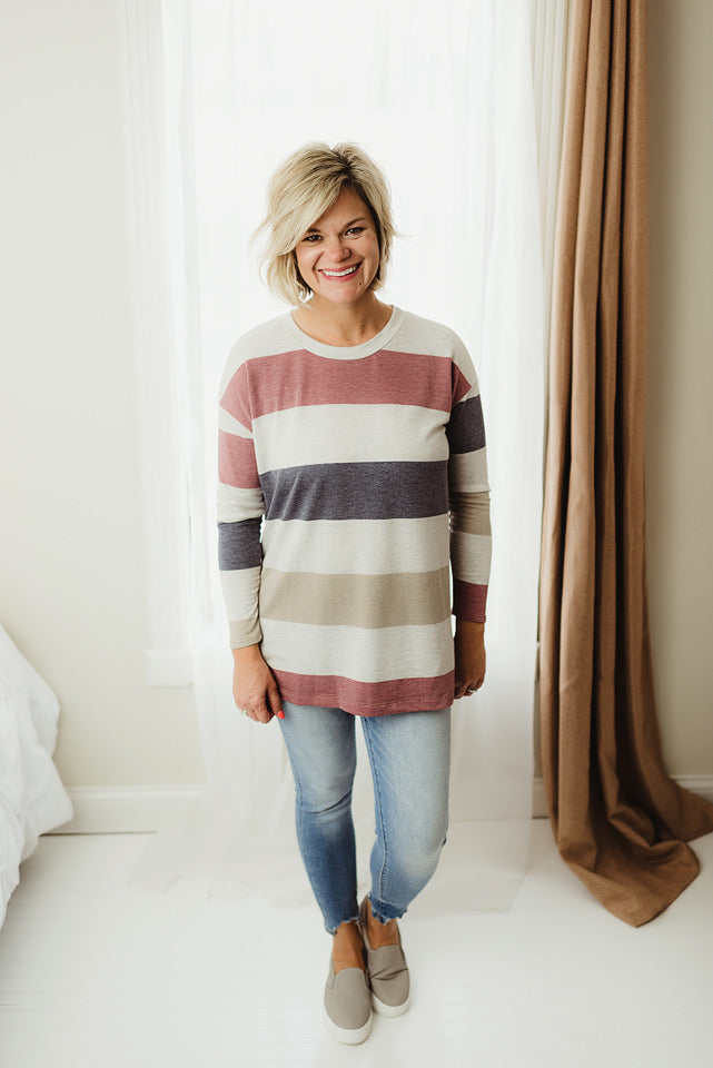 Loose Colorblock Tunic