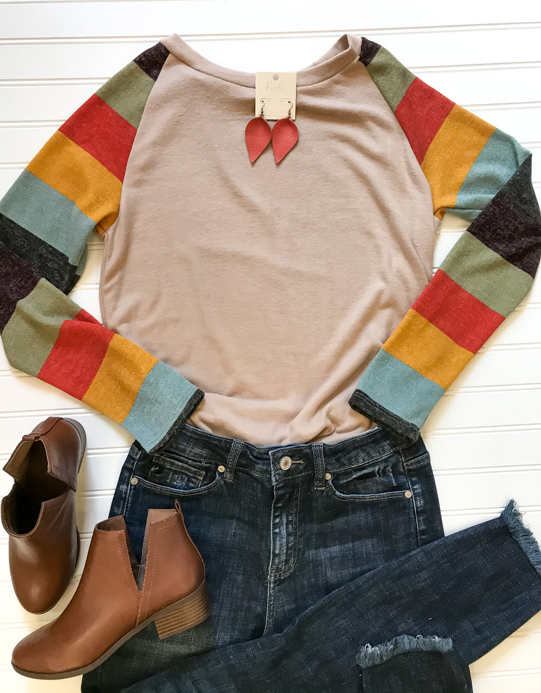 Casual Striped Raglan