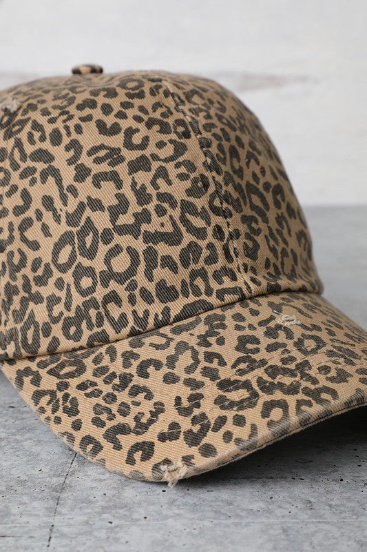 Leopard Distressed Cap