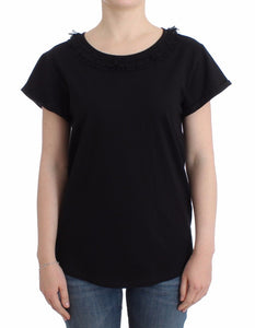Black Cotton Short Sleeved Top