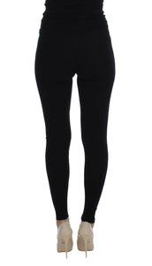 Black Cashmere Stretch Waist Tights Pants