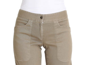 Beige Cotton Stretch Cropped Pants