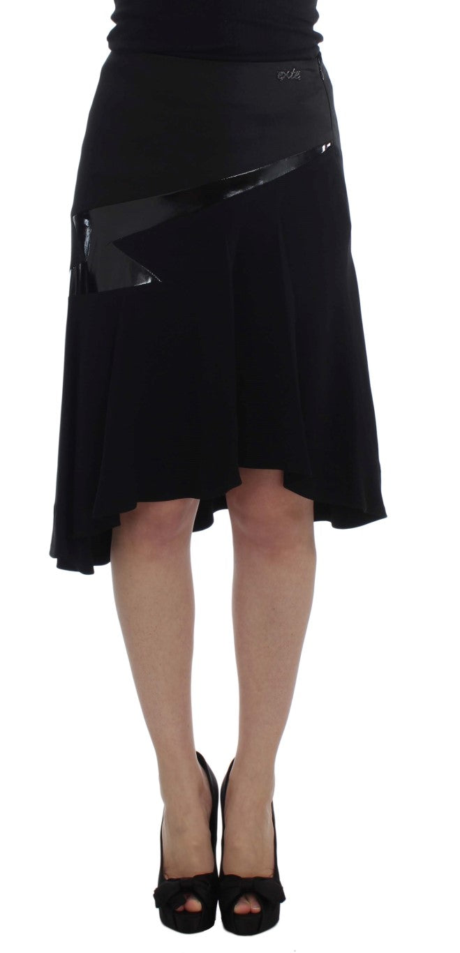 Black Blue Cotton Stretch Straight Skirt