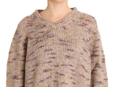 Beige Wool Blend Knitted Oversize Sweater