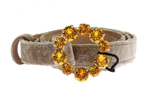 Beige Suede Leather Crystal Buckle Belt