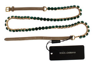 Beige Suede Leather Green Crystal Belt