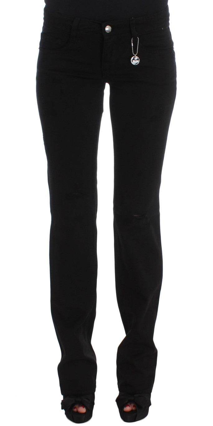 Black Cotton Slim Fit Bootcut Jeans