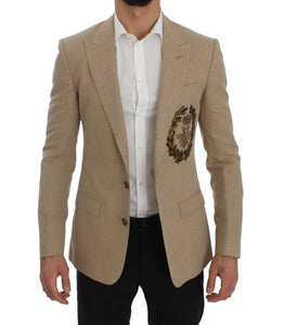 Beige Slim Fit Bee Crown Blazer Jacket