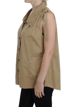 Beige Cotton Sleeveless Shirt