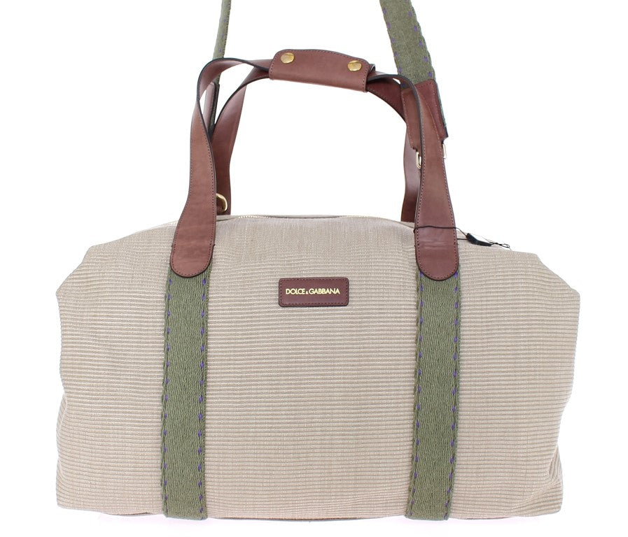 Beige linen boston bag