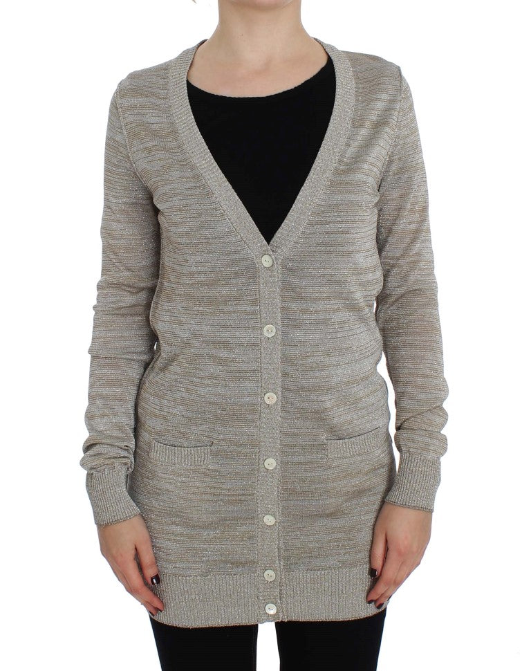 Beige Long Sleeve Cardigan Sweater