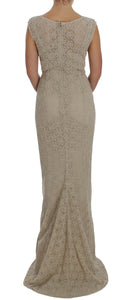 Beige Ricamo Cutout Cotton Sheath Dress