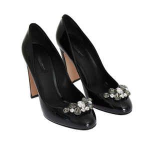 Black Crystal Leather Pumps
