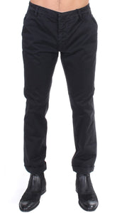 Black cotton stretch casual pants