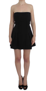 Black Cotton Stretch Mini A-Line Dress