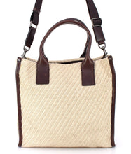 Beige leather travel tote bag