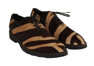 Beige Brown Striped Pony Hair Shoes