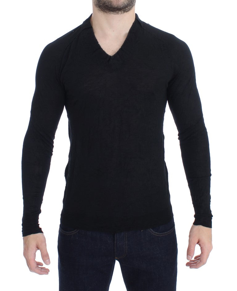 Black Fine Wool V-neck Sweater