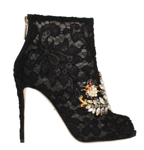 Black Crystal Lace Booties Stilettos Shoes
